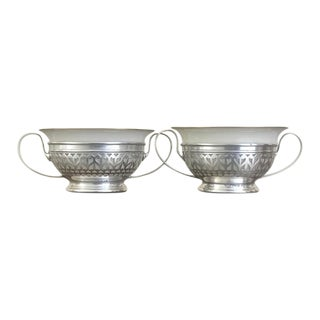 Gorham Sterling Silver Boullion Cup Holders With Lenox Bowl Inserts - a Pair For Sale