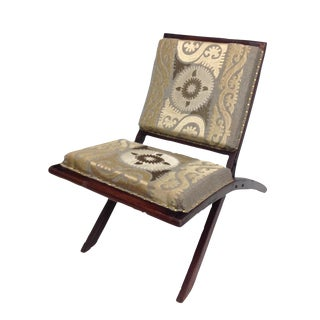 Suzani Embroidered Wood Folding Chair For Sale