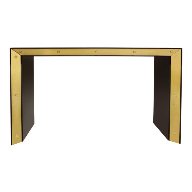 Brown Lacquered Console with Brass Accents For Sale