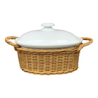 1960s Arabia of Finland White Ceramic Oval Covered Casserole Serving Dish With Basket For Sale