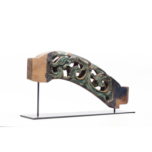 Celadon Statement Piece Antique Carved Temple Fragment With Blue and Green Paint on a Custom Metal Stand For Sale - Image 8 of 8
