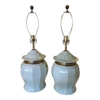 Vintage Chinoiserie Mint Green Ceramic Ginger Jar and Brass Pagoda Table Lamps - a Pair For Sale