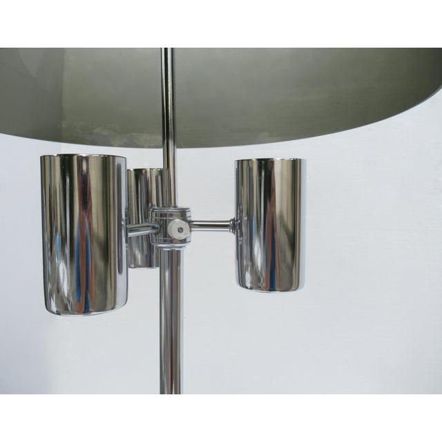 Metal 1960's Mid-Century Modernist Space Aged Smoked Lucite and Chrome Mushroom Table Lamp For Sale - Image 7 of 13