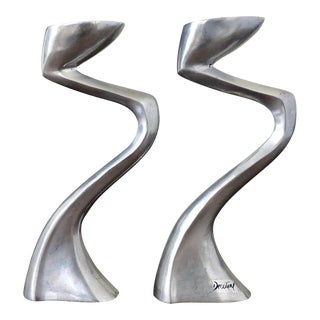 Vintage Decoline Postmodern Candleholders - a Pair For Sale