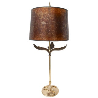 Table Lamp in Polished and Antique Brass With a Mica Shade For Sale