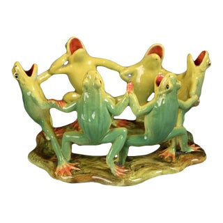 Majolica Grouping of Dancing Frogs by Delphin Massier For Sale