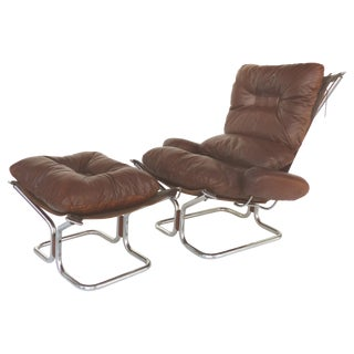 Ingmar Relling for Westnofa Leather Club & Ottoman With Tubular Chrome Frame For Sale
