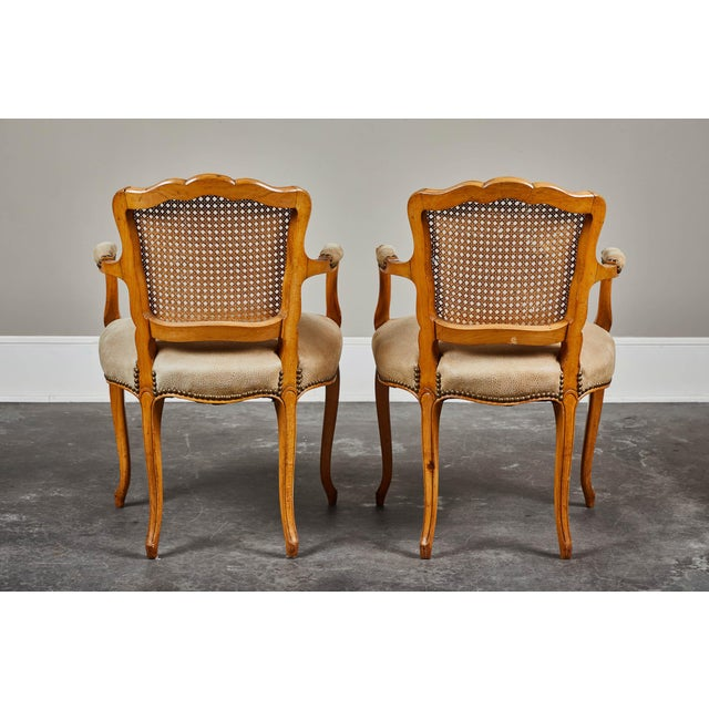 Mid 19th Century 19th Century Louis XV Style Caned Armchairs - Set of 4 For Sale - Image 5 of 11