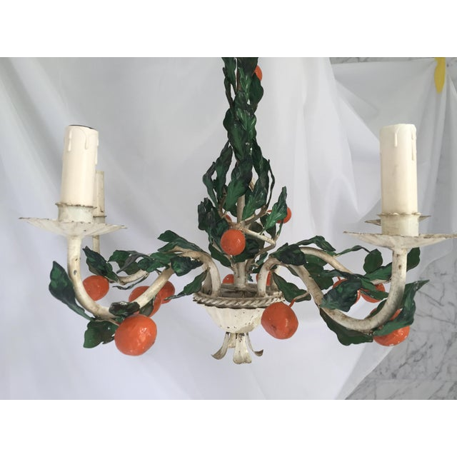 1950's Italian chandelier, perfect for a breakfast room, garden room, porch or whimsical touch to a bedroom! Fixture...