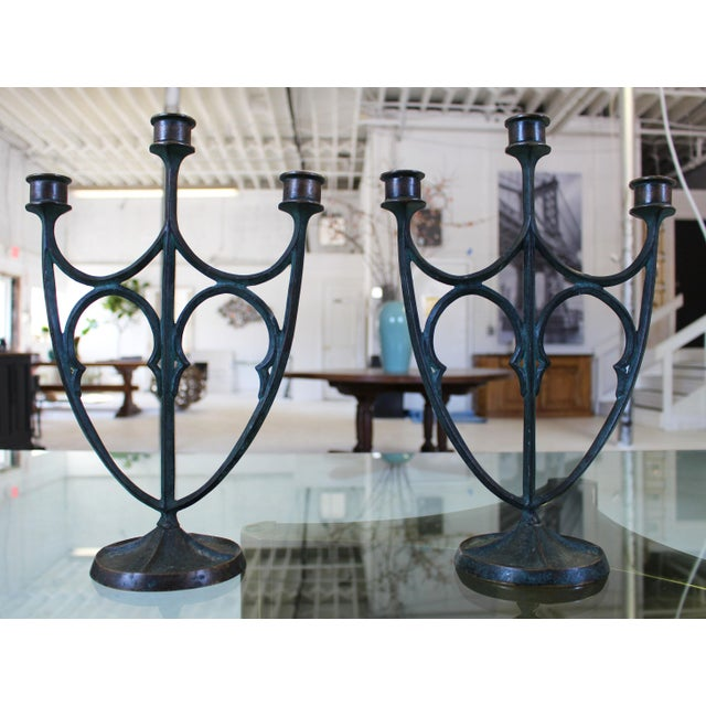 Pair of e.t. Hurley Bronze Three-Arm Candlesticks/Candelabra For Sale - Image 11 of 11
