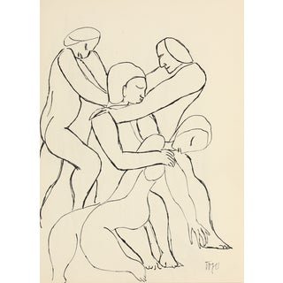 Expressionist Figures, Ink on Paper For Sale