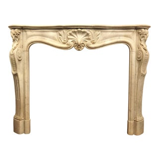 Antique French Louis XV Carrara Marble Fireplace Mantel, Circa 1860. For Sale