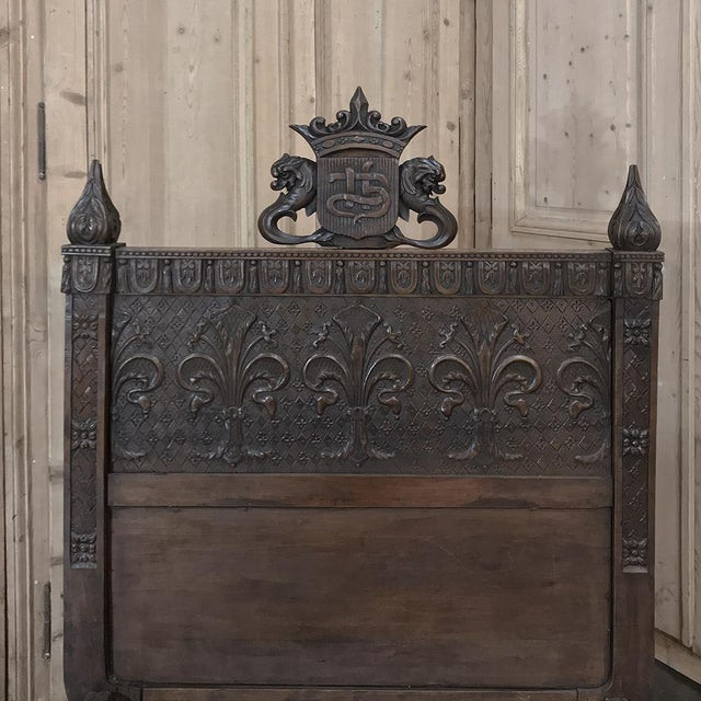 19th Century Italian Florentine Hand-Carved Walnut Bed For Sale - Image 9 of 13