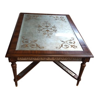 Maitland Smith Eglomise Table Mahogany For Sale