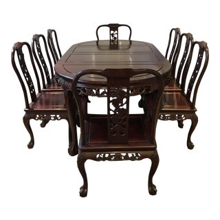 Ling Chi Rosewood Dining Table & 8 Chairs Set