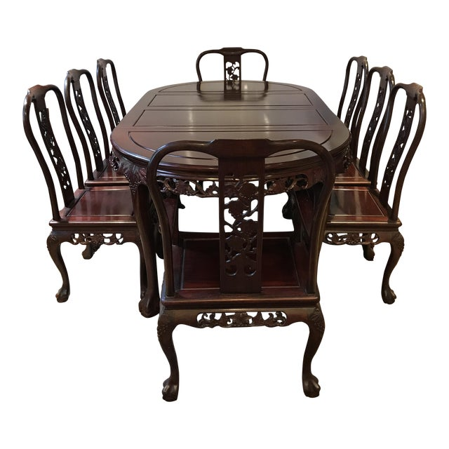 Ling Chi Rosewood Dining Table & 8 Chairs Set - Image 1 of 10