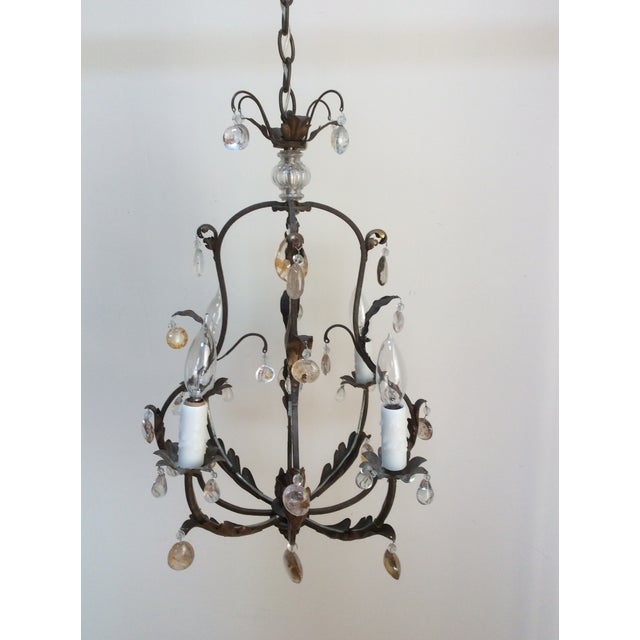 Polished Steel & Quartz Prism Chandelier For Sale In San Antonio - Image 6 of 6