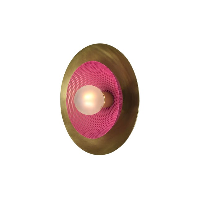Centric Wall Sconce in Solid Brass + Fuschia Enamel Mesh Blueprint Lighting 2019 For Sale