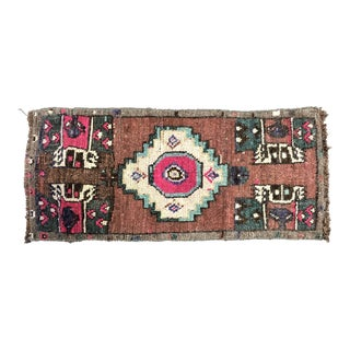 Antique Turkish Handmade Small Entry Rug - 1′4″ × 2′11″ For Sale