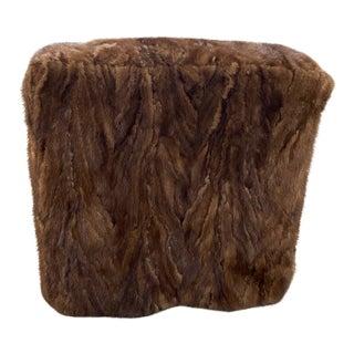 Vintage Brown Fur Ottoman For Sale