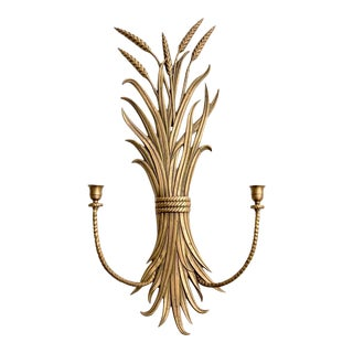 Brass Sheath of Wheat Two Candle Sconce For Sale