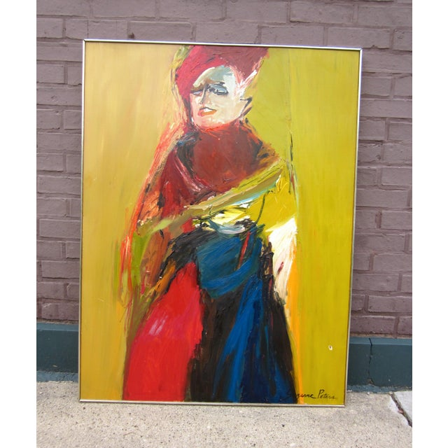 1970s Vintage Suzanne Peters Expressionist Style Portrait Oil on Board Painting For Sale - Image 11 of 11
