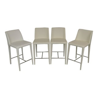 Safavieh Set 4 Mid Century Modern Style White Leather Counter Stools For Sale