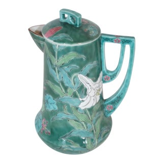 Chinese Hand Painted Lilly Coffee Pot For Sale