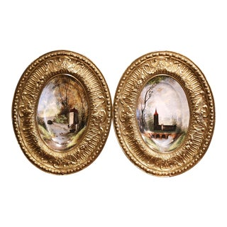 19th Century Napoleon III Hand Painted Porcelain and Brass Wall Plaques - a Pair For Sale