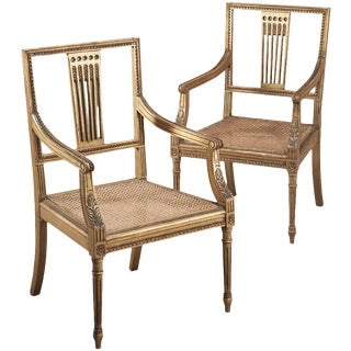 Pair 19th Century Swedish Neoclassical Gilt-Wood Armchairs For Sale
