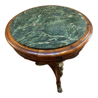 Antique French Empire Marble Top on Three Winged Lion Legs With Paw Feet Table For Sale