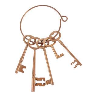 Vintage Set of Brass Keys on Ring