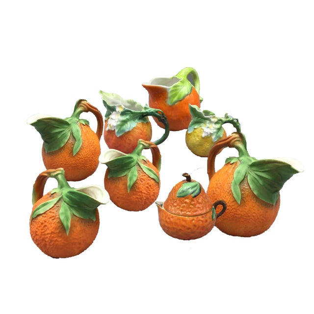 Mid-Century Royal Orange Citrus Blossom Porcelain International Serveware - Set of 8 - Image 7 of 7