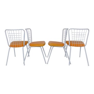 Howell Mid-Century Modern Metal Wire Back Dining Chairs - Set of 4