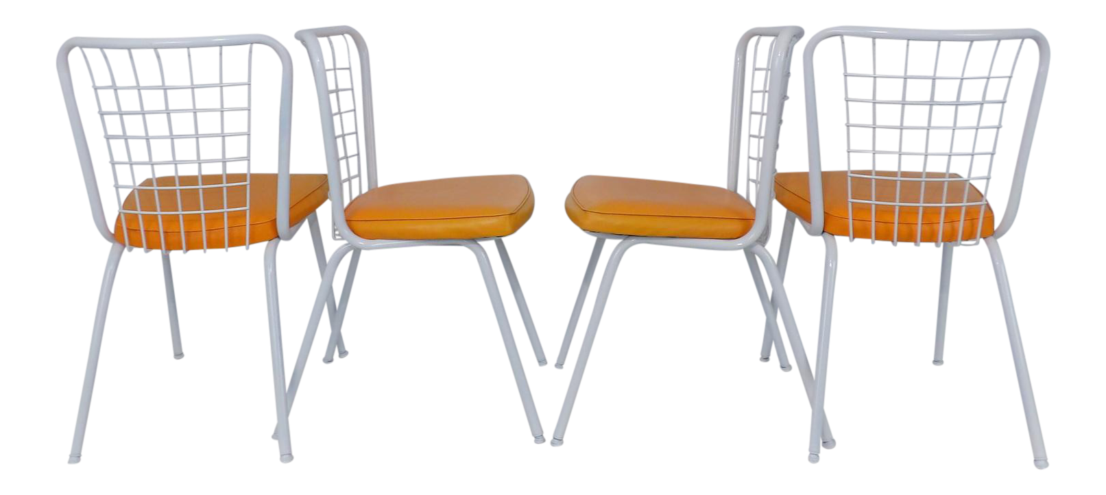 Howell Mid Century Modern Metal Wire Back Dining Chairs   Set Of 4