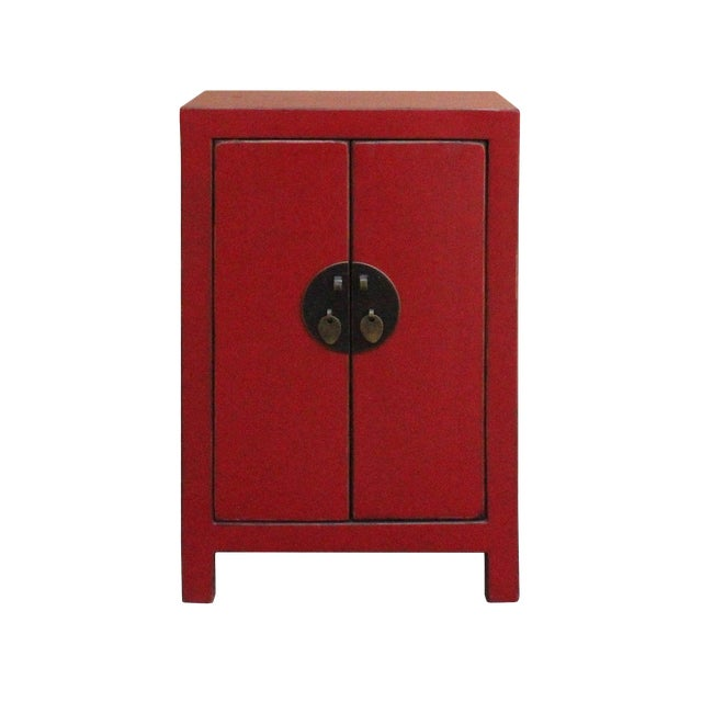 Chinese Red Lacquer Moonface End Table Nightstand For Sale
