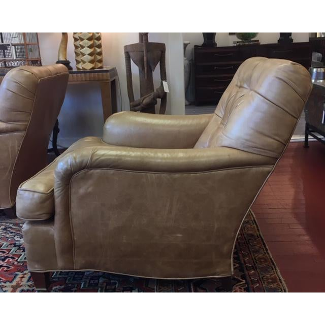 Traditional 1960s Vintage Beige Tufted Back Leather Chairs- a Pair For Sale - Image 3 of 7