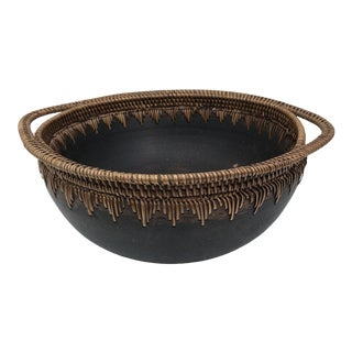 Native American Pine Needle and Wood Bowl For Sale