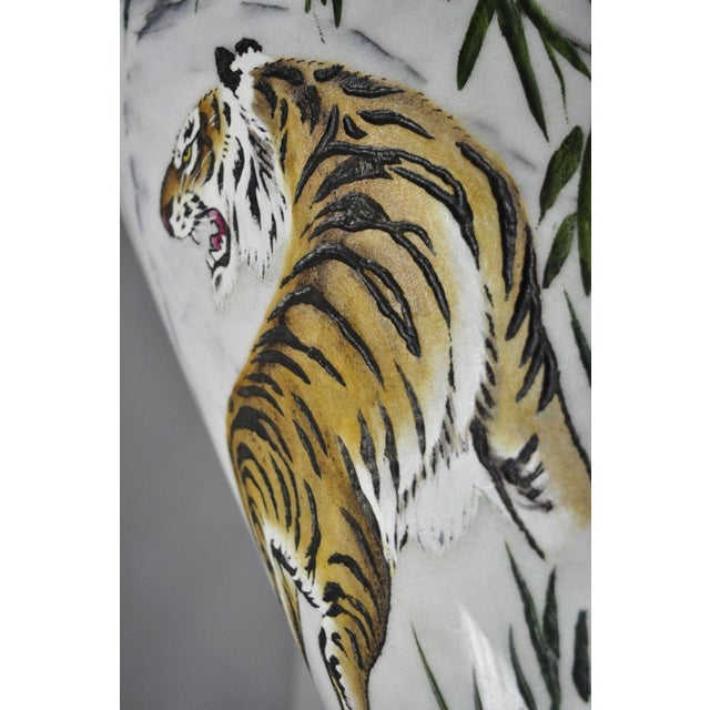 Mid 20th Century Carved & Painted Tiger Oriental Scene White Marble Vase Vessel For Sale - Image 5 of 13