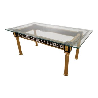 Versace Atelier Greek Key Cameo Glasstop Gold Gilt Dining Table