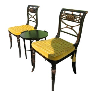 Antique Chairs & Accent Table - Set of 3 For Sale