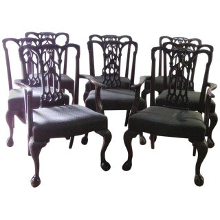 Set of Eight Chippendale Style Dining Chairs For Sale