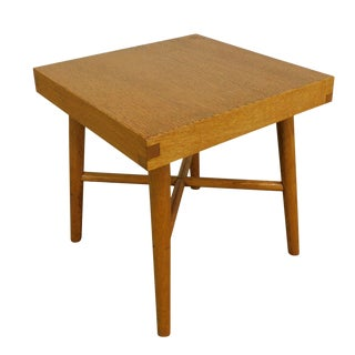 Mid Century Modern Studio Crafted Small Oak Side Table or Stool For Sale