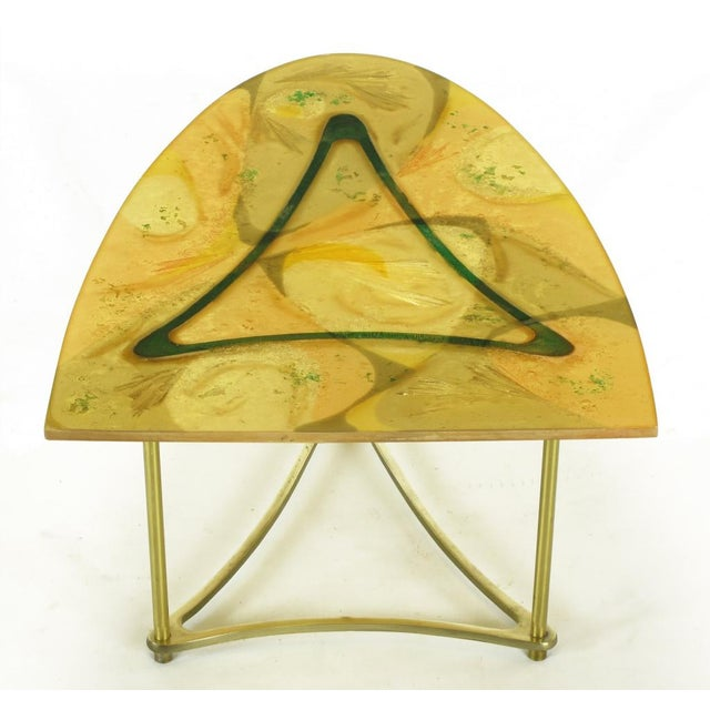Demi-Ellipse Abstract Cast Resin & Brass Cocktail Table For Sale - Image 4 of 8