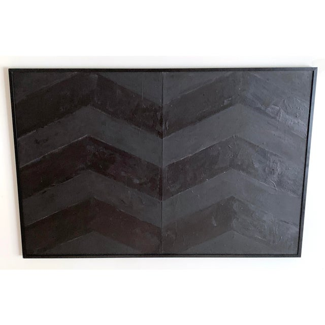 Minimal Black Geometric Painting For Sale In Portland, ME - Image 6 of 10