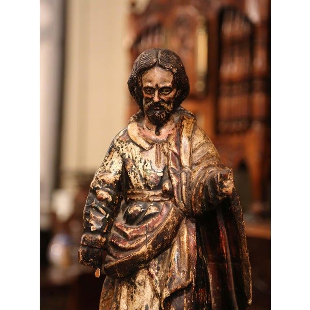 Baroque Early 18th Century Italian Carved Polychromed Sculpture of Christ on Marble Base For Sale - Image 3 of 7