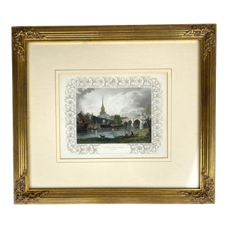 Framed Antique Etching - Wallingford, Oxfordshire For Sale