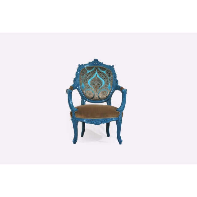 Antique French Blue Peacock Chairs - a Pair - Image 3 of 4