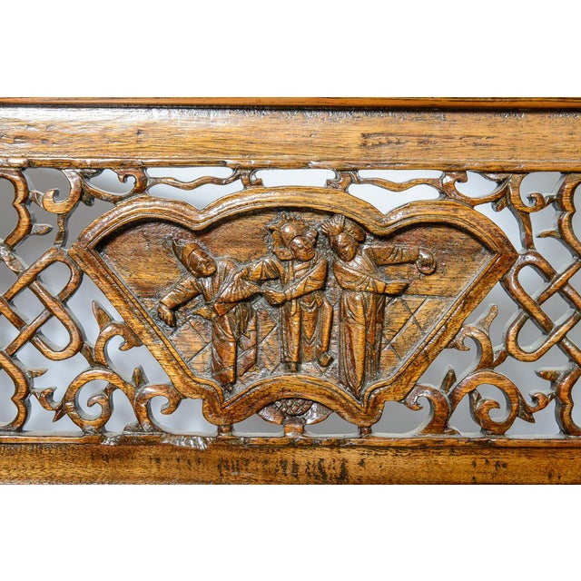 Chinese Elm Wood Bench For Sale In West Palm - Image 6 of 9