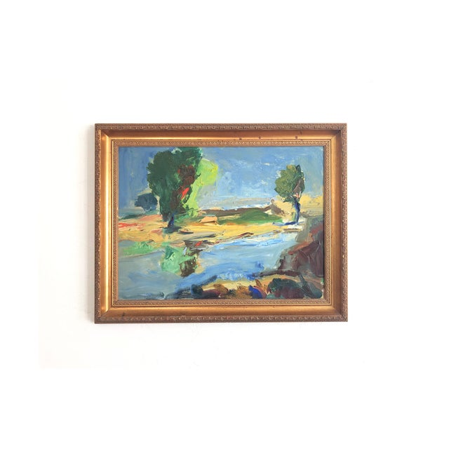82dfe4793 Vintage Large Abstract Landscape Oil Painting For Sale - Image 9 of 9